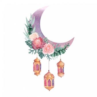 花とぶら下げランタン、ラマダンやイードアルフィトルに最適なイスラムの装飾が施された水彩の三日月