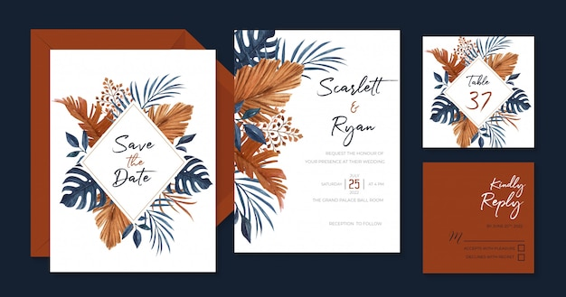 手のひら、モンステラ、乾燥した葉を持つエレガントなネイビーブルーとブラウンの結婚式の招待状のテンプレート