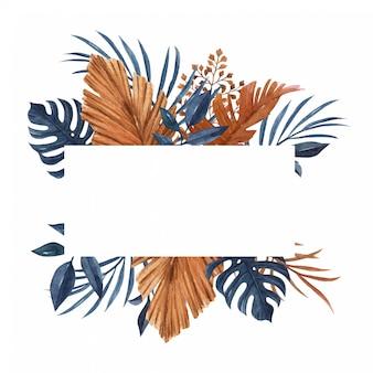 水彩のヤシ、モンステラ、他の乾燥した葉を持つ水彩ネイビーブルーとブラウンバナーテンプレート