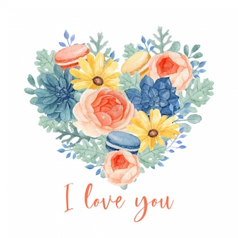 デイジー、ラナンキュラスの完全なハート形の美しい花と甘いマカロンブーケ。多肉植物、ユーカリ、ホコリの多い葉