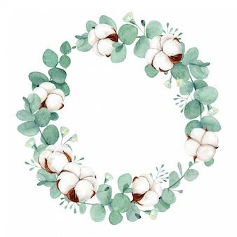 綿の花とユーカリの葉と水彩の花の花輪