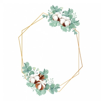 Геометрическая золотая рамка с рустикальным хлопковым цветком, пыльным мельником и листьями эвкалипта
