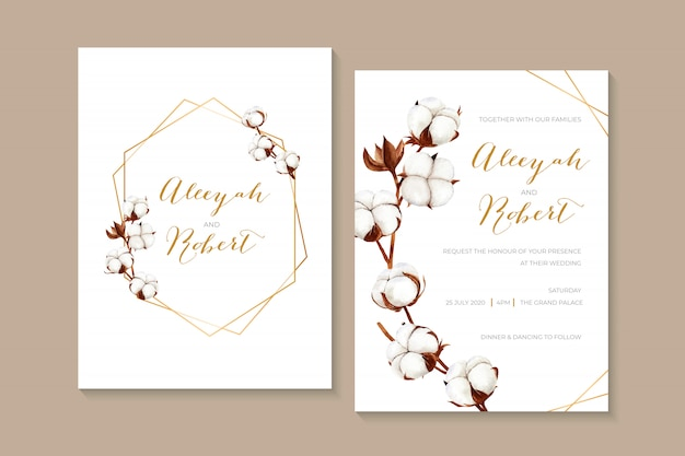 乾いた綿の花と素朴な水彩結婚式の招待状