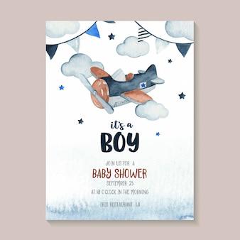 飛行機、花輪、星、雲の完全なかわいい水彩空シーンイラスト。ベビーシャワーの招待カードに最適