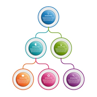 インフォグラフィックデザイン組織図テンプレート。