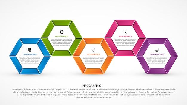 Шаблон инфографики варианты шестиугольника.