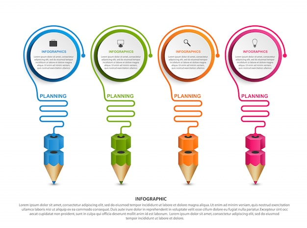 Инфографика шаблон с карандашом.