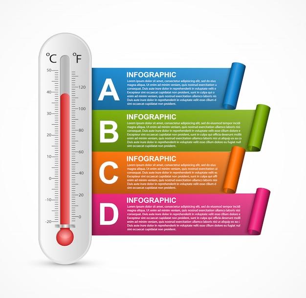 Инфографика дизайн термометра.