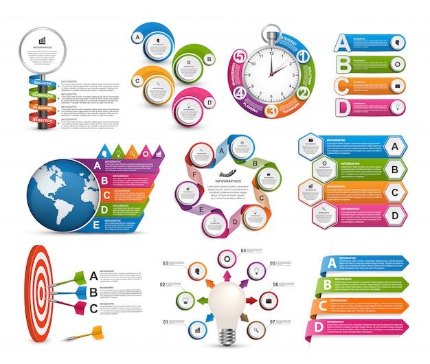 コレクションインフォグラフィックテンプレート。デザイン要素