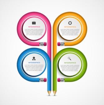 教育用インフォグラフィック、鉛筆はさまざまな方向に曲がっていました。