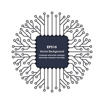 電子機器の背景のマイクロチップ