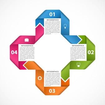Инфографики шаблон с лентами