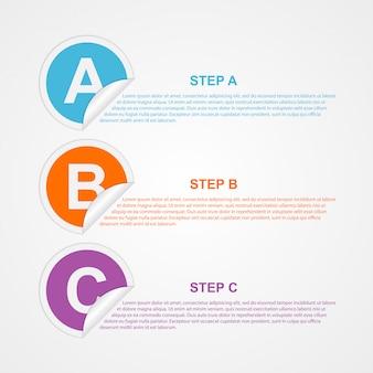 Бумажная инфографика с тремя шагами
