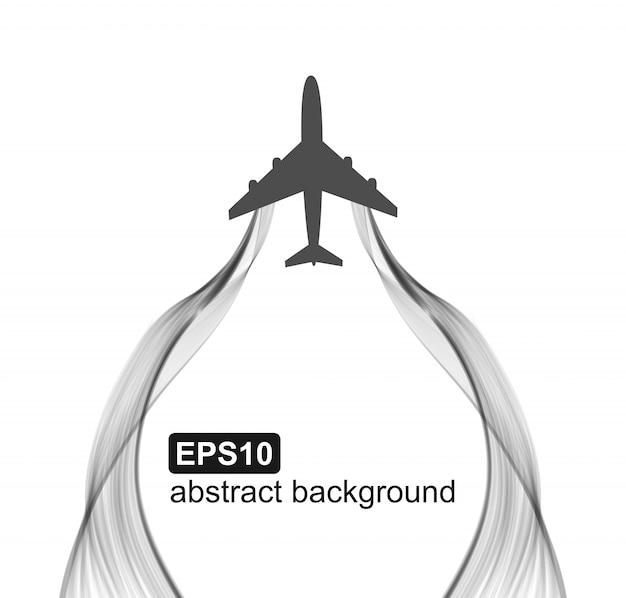 飛行機の飛行と煙の波。