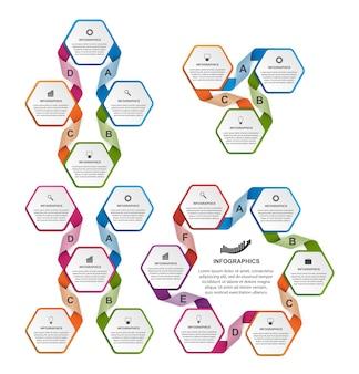 Коллекция красочной шестиугольной инфографики.
