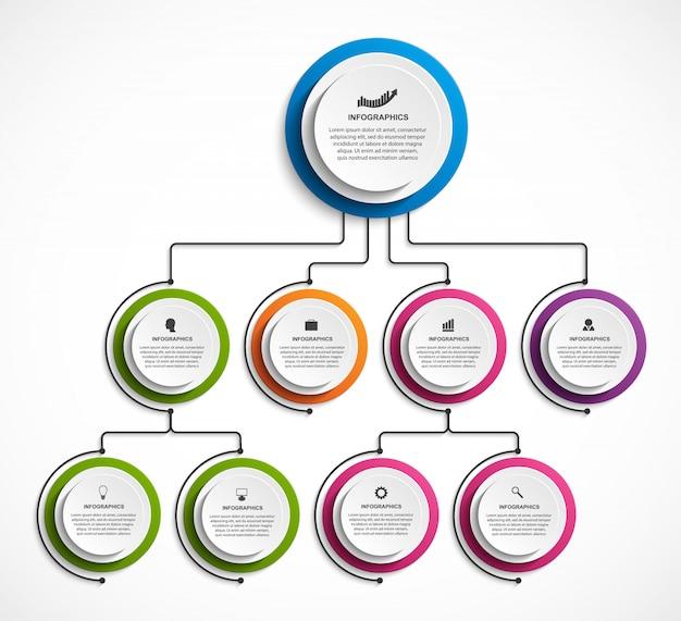 Шаблон организационной схемы инфографического дизайна.