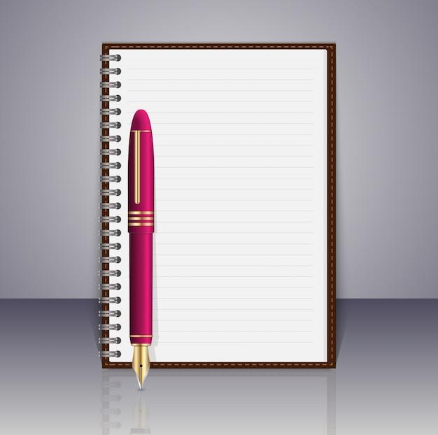 現実的なスパイラルメモ帳とペン。