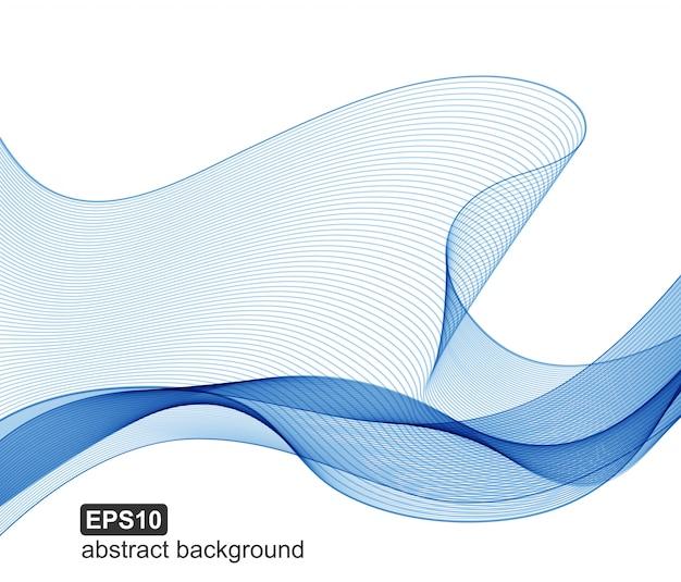 抽象的な青い波のベクトルの背景。