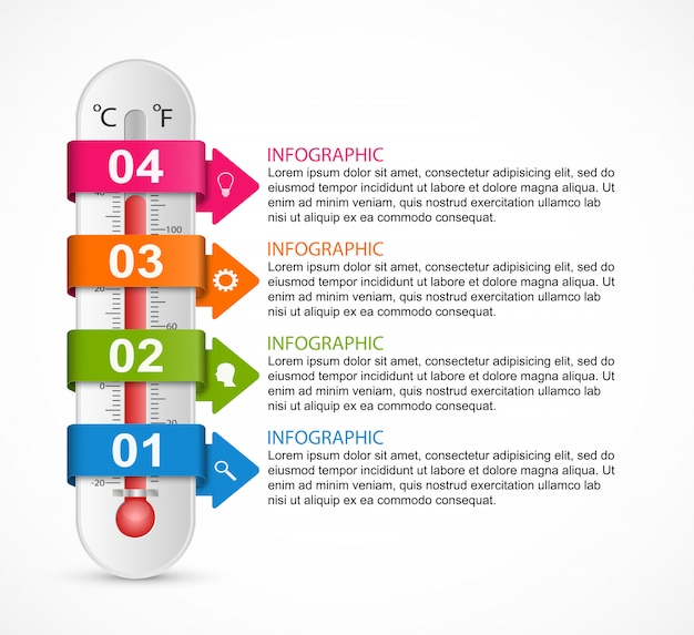 Инфографика термометр дизайн шаблона.