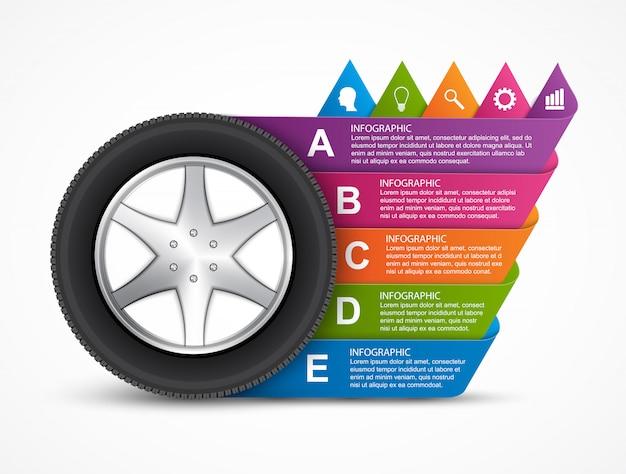 Колесо автомобиля инфографики.