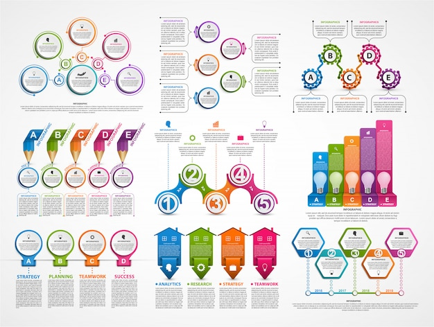コレクションのインフォグラフィック。デザイン要素