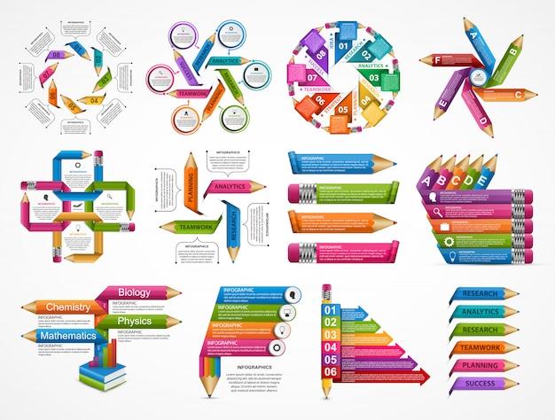 Коллекция образование инфографика шаблон.