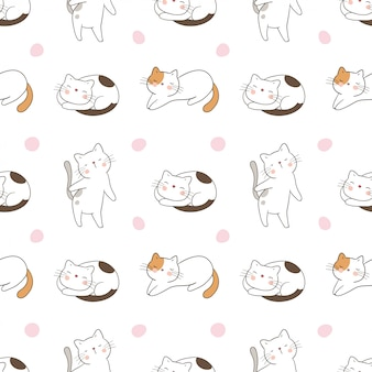 甘い水玉模様のシームレスなパターンの猫を描く
