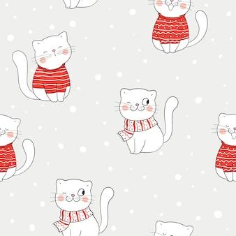 冬の雪の中でシームレスなパターンの猫を描きます。