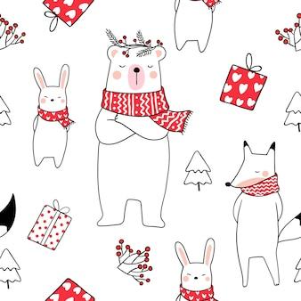 シームレスなパターンの動物のクマとウサギを描く