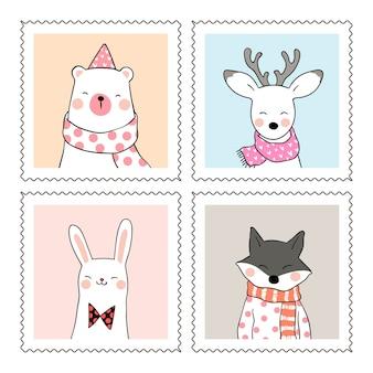 甘いフレームでかわいい動物の鹿のクマの狼とウサギを描く
