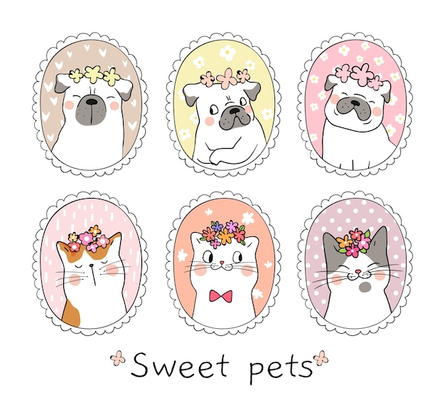 ビンテージのフレームでかわいい猫とパグの犬を描く