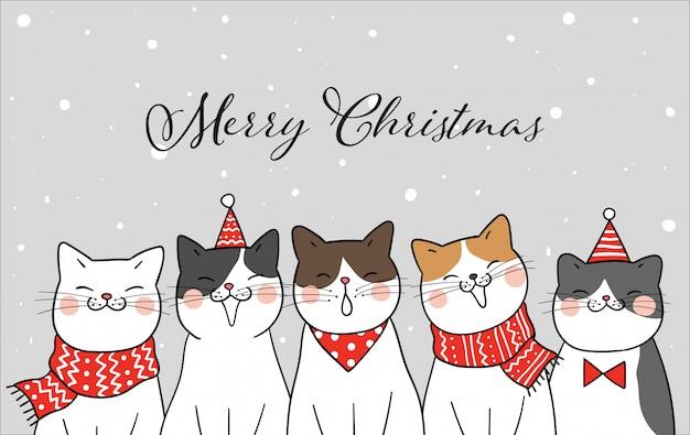 Баннер забавный кот на рождество в снегу