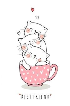 お茶のピンクのパステルのカップで愛らしい猫の睡眠を描く