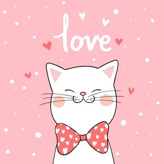 バレンタインのピンクの背景を持つ白い猫を描く