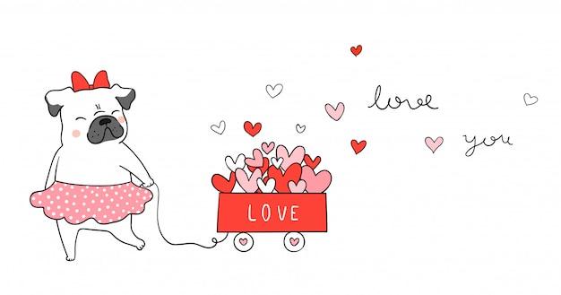 バレンタインのカートに小さな心の猫と一緒にパグ犬を描きます。