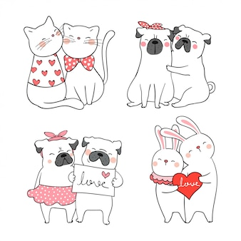 バレンタインのためのかわいい猫とパグ犬を描きます。