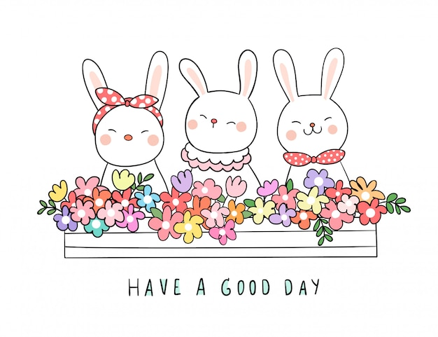 春の植木鉢に美しさの花とウサギを描く