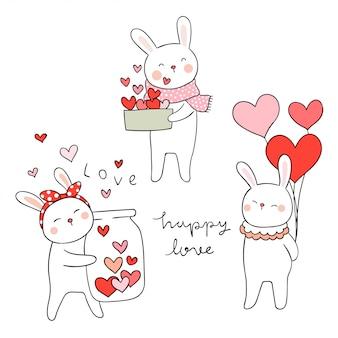 愛のために小さな心でウサギを描く