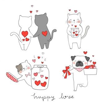 バレンタインデーのために小さな心で猫とパグ犬を描きます。