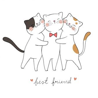 愛と言葉の親友とかわいい猫抱擁を描きます。