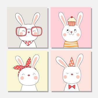 かわいいウサギを描くグリーティングカードや壁紙に。
