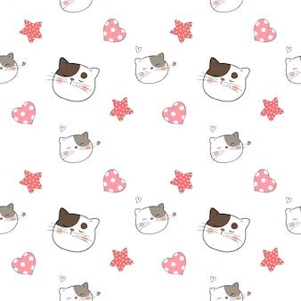 バレンタインデーのための小さな心でシームレスパターン猫。