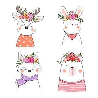 春の季節の動物や花を描きます。