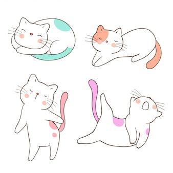 Нарисуйте набор милый кот разные на белом.