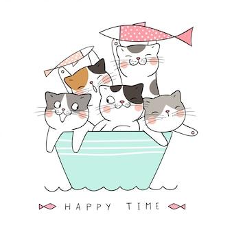 ボートで魚を抱えた猫を描く