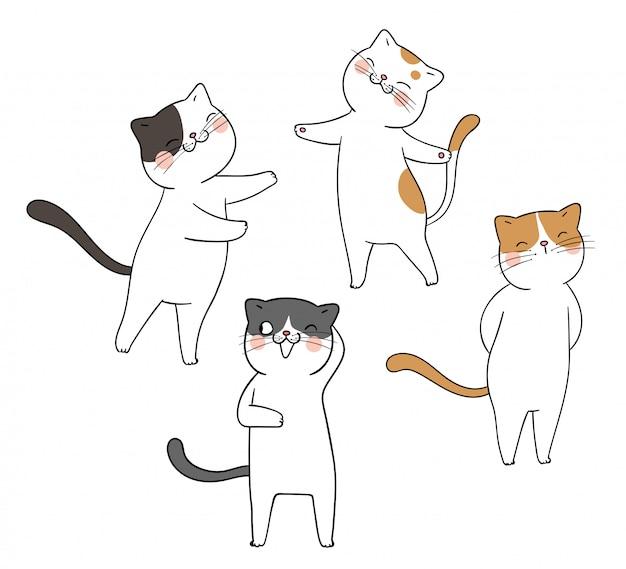 かわいい猫の異なるポーズを描くのでとても面白い。
