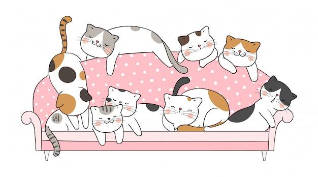 Нарисуйте вектор кошка спать на розовом диване.