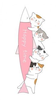大きな魚のピンクのパステルカラーで猫を描く