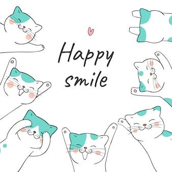 幸せな笑顔の言葉で猫を描きます。