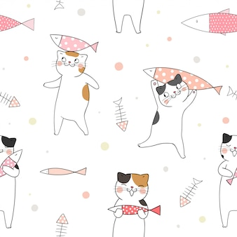 Безшовная картина милый кот с рыбами на белизне.